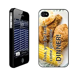 """Napolean Dynamite Movie Quote Themed """"Tina, you fat lard, come get some dinner""""- Black Protective iPhone 4/iPhone 4S Hard Case"""