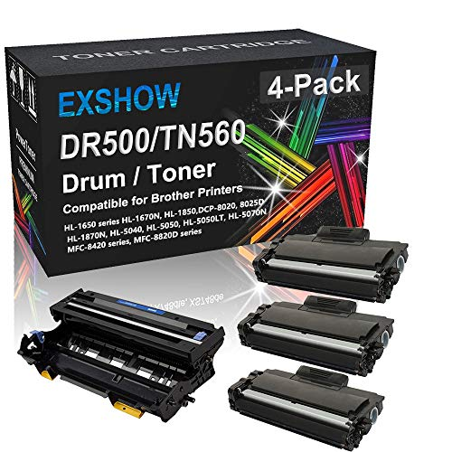 Compatible 4-Pack (3X Black Toner, 1x Drum Unit) High Capacity TN560 DR500 Imaging Drum Unit Replacement for Brother DR500 TN560 Toner Cartridge Used for Brother HL-5040 HL-5050 HL-5070N Printer