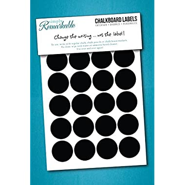 40 Circle Chalk Labels - Chalkboard Labels - 1 1/4  Circles - Chalkboard Stickers