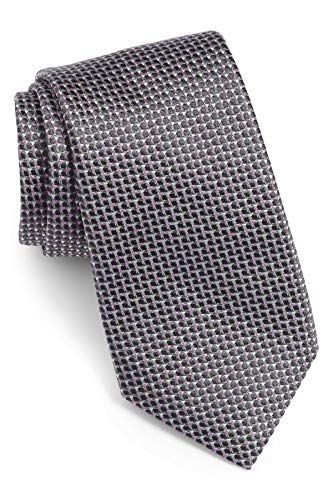 Hugo Boss Textured Woven Italian Silk Tie, Grey 50397367