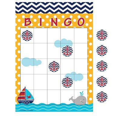 Club Pack of 60 Ahoy Matey Navy Blue Chevron and Yellow Polka Dot Bingo Party Games 10'' by Party Central