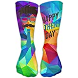 Design Happy Father's Day Dad With Glasses Mustache And-Tie Fashion Art Socks For Women &Girl