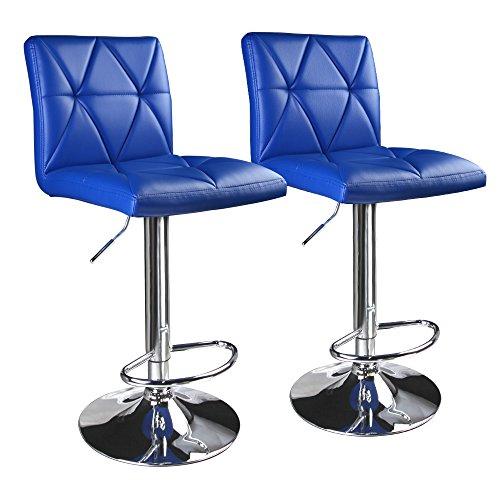 Leader Accessories Modern Swivel Blue Bar Stools,Diagonal Line Hydraulic Adjustable Bar Stool With Back,Set of 2
