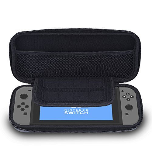 Hotop EVA Hard Shell Tough Pouch Carrying Case for Nintendo Switch, Grey (Nes Carrying Case)