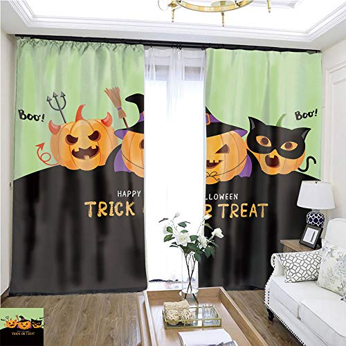 Cartoon Curtain Series Cute Cartoon Pumpkin Character W96 x L108 Sliding Door Curtain for Guest Room Highprecision Curtains for bedrooms Living Rooms Kitchens etc.