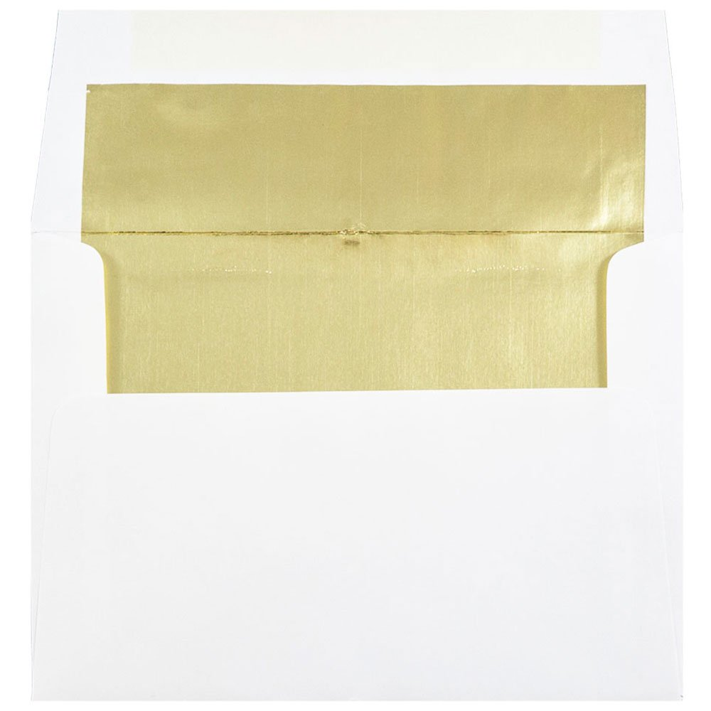 JAM Paper A7 Foil lined Invitation Envelopes - 5 1/4 x 7 1/4- White with Silver Foil Lining - 50/pack JAM Paper & Envelope