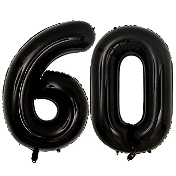 40inch Jumbo Black Number 60 Balloons For Men Women 60th Birthday Decoration60th Years Old