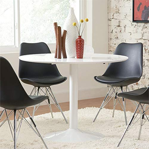 BOWERY HILL Modern 40'' Round Dining Table Tulip Pedestal in White by BOWERY HILL