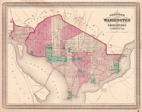 ohnson's Washington and Georgetown | Historic Poster Art Reproduction | 55in x 44in ()