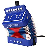 Kids Accordion Music Collection Accordion with Songbook Piano Percussion Accordion Premium Educational Musical Instrument for Students (Blue)