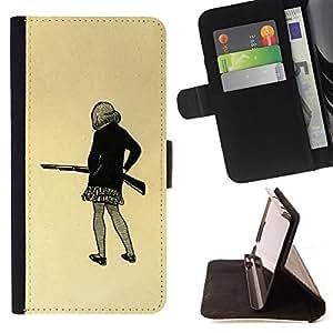 BullDog Case - FOR/Sony Xperia Z1 L39 / - / GIRL GUN DRAWING ART MINI SKIRT PENCIL SHOOT /- Monedero de cuero de la PU Llevar cubierta de la caja con el ID Credit Card Slots Flip funda de cuer