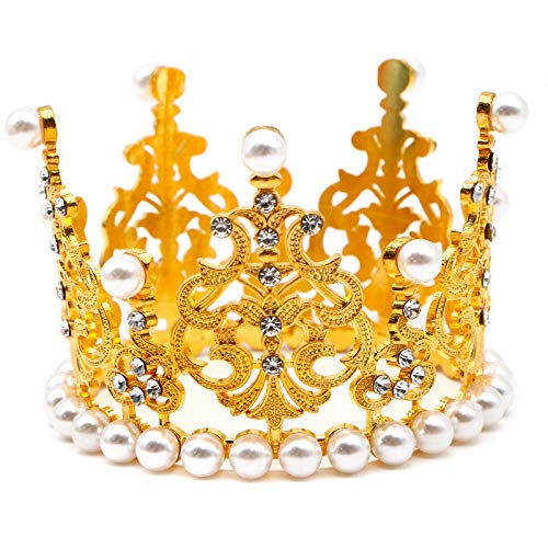 AQUEENLY Crown Cake Topper, Mini Rhinestone Pearl Crown Cake Food Decoration Supplies for Birthdays, Weddings, Bridal/Baby Showers, Prince/Princess Theme Party]()