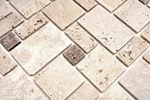Mosaik Fliese Travertin Naturstein Kombination Travertin beige MOS43-1212-15/_m