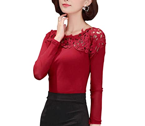 Long Sleeve Blouse Shirt Women Cotton Lace Shirt Spring Autumn Office at Amazon Womens Clothing store: