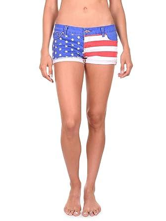 eb5b784e8b7d Tipsy Elves Women s USA American Flag Denim Shorts - Patriotic Stars ...