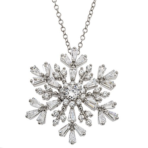 Diamoness Sterling Silver Cubic Zirconia Snowflake Pendant Necklace, 18