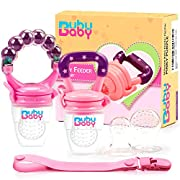 Bububaby Baby Feeder for Fruit & Fresh Food / Silicone Teething Toys/ Feeding Pacifiers for Boys and Girls, Rattle, Extra Teats and Pacifier Clip Holder, 2 Pack (Pinky Purple)