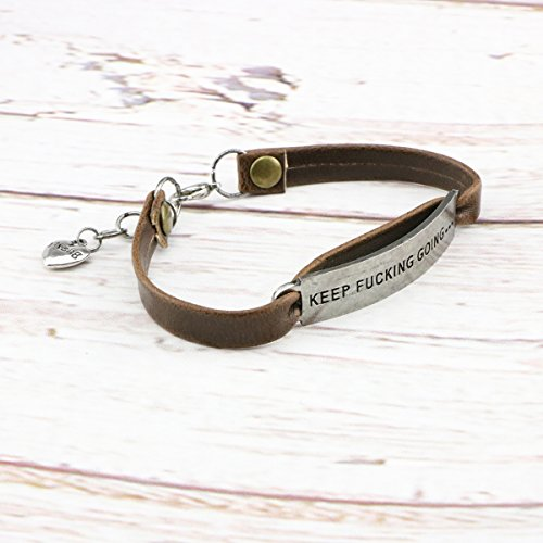 UNQJRY Leather Bracelets for Friends Inspirational Engraved Personalized Gift Jewelry Keep Fucking Going by UNQJRY (Image #1)
