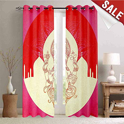 (Hengshu Bohemian Drapes for Living Room Ancient Elephant Goddess with Asian Temple in Medallion Yoga Retro Style Window Curtain Fabric W108 x L108 Inch Red Pink Yellow)