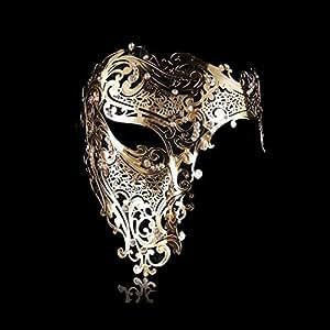 Goodkssop Luxury Mask Women Men's Signature Phantom of the Opera Half Face Skull Cool Mask Metal (Gold) by Goodkssop