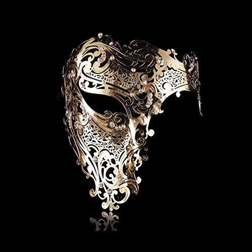 Goodkssop Luxury Mask Women Men's Signature Phantom of the Opera Half Face Skull Cool Mask Metal (Gold)