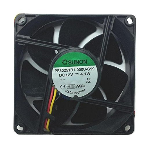 Sunon 80x80x25mm High Speed 12 Volt Fan with 3 Wire 3 Pin connector PF80251-000U-G99 by Sunon