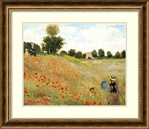 Framed Art Print, Poppies at Argenteuil, 1873' by Claude Monet: Outer Size 29 x (Argenteuil Framed)