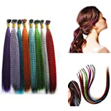 36 Pcs Feather Hair Extension Kit Multi Mixed color 100 Micro Beads & hook Tool
