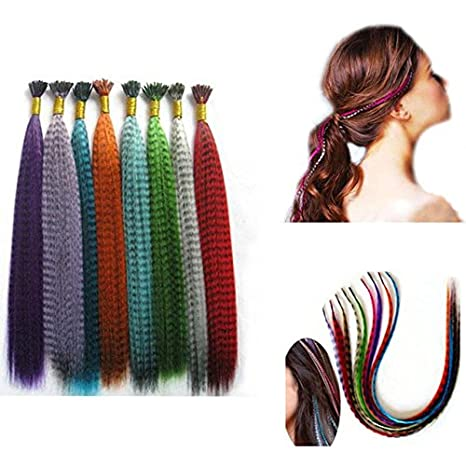 24 Pcs Feather Hair Extension Kit Multi Mixed color 50 Micro Beads & hook Tool DZ