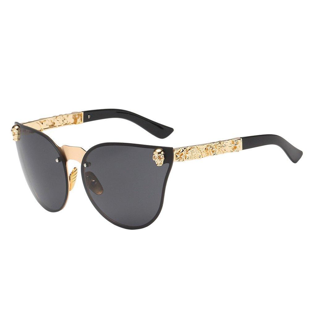 KCPer Fashion Unisex Men's Women's Frameless Shades Acetate Frame UV Glasses Sunglasses Outdoor Cat Eye Oversized Glasses (C)
