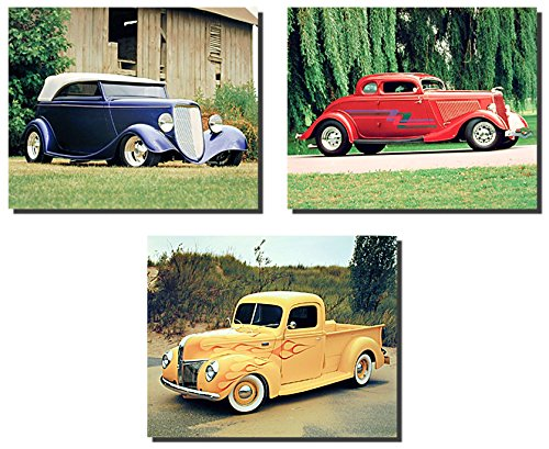 Ford Phaeton, Ford Pickup Truck, and Red Ford Coupe Hot Rod Three Set Vintage Automobile Car Wall Decor Art Print Poster ()