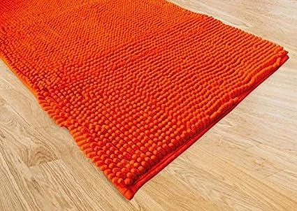 Confezioni giuliana tappeto bagno moderno spaghetti arancio cm