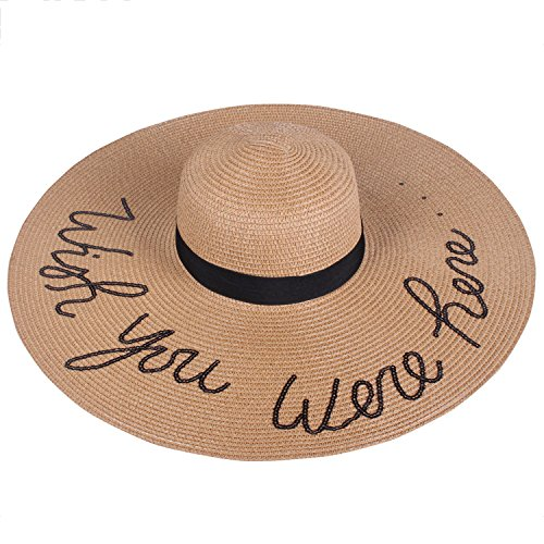 Hat Printed Floppy (SERENITA Wish You were Here Embroidery Lettering Floppy Hat Khaki 2)