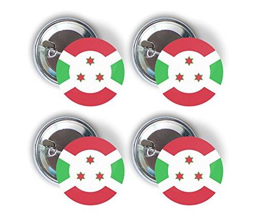 Burundi Four Pack of Flag Pin Back Badge Buttons 2.25-inch Round Burundian