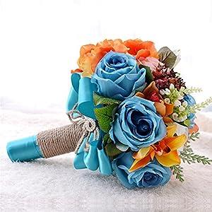 MOJUN Wedding Bouquet Flowers Artificials Roses Camellia Decoratif Wedding Bride Bridemaisde Hold Flowers 2