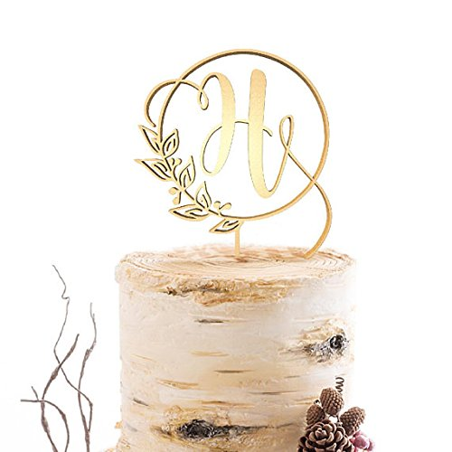 Topper Single Initial Cake Toppers, Gold Letter H Cake,Wedding Gold Cake Decoration Favors Cake Decorating Party Supplies ()