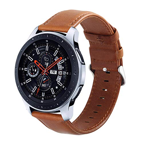 Galaxy Watch 46mm Bands, Gear S3 Bands, KADES 22mm Universal Leather Replacement Strap with Quick Release Pin Compatible for TicWatch Pro/Amazfit Stratos Smart Watch, Large, Brown