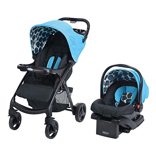 Snugride Black Car Seat Base - Graco Verb Click Connect Travel System, with Snugride Click Connect 30 Infant Lightweight Stroller Comfortable Car Seat, Motif