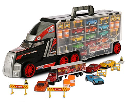 ToyThrill Super Transport Truck Carrier Toy – Plastic Transporter/Case – Includes 10 Die-Cast Mini Cars, Mini Semi-Truck, 16 Assorted Road Block Accessories – Holds Over 40 Cars! – by ()