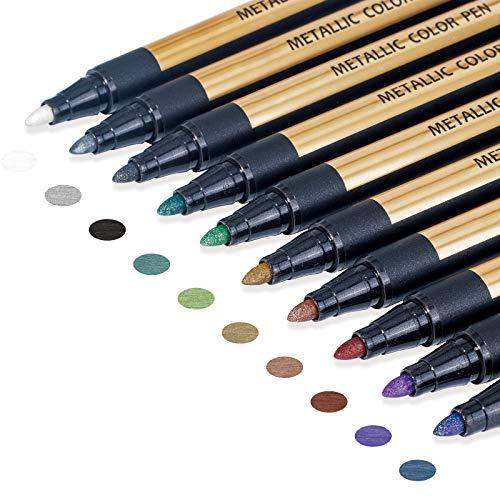Metallic Marker Pens, Paint Pens for Rock Painting, Black Paper, Scrapbooking Kit, Scrapbook Photo Album, Card Making, DIY Arts Crafts Supplies, Glass, Wood, Set of 10 Metallic Colors - Medium Tip Paint Markers