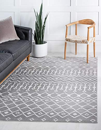 Unique Loom Moroccan Trellis Collection Modern Geometric Transitional Light Gray Ivory Area Rug 6 0 x 9 0