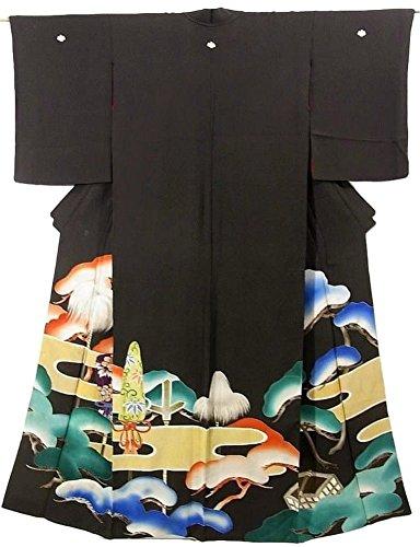 スタッフトランスミッション唯一アンティーク 着物 芸者 裾引き 松にヱ霞 大名行列 正絹 袷 裄63cm 身丈172cm