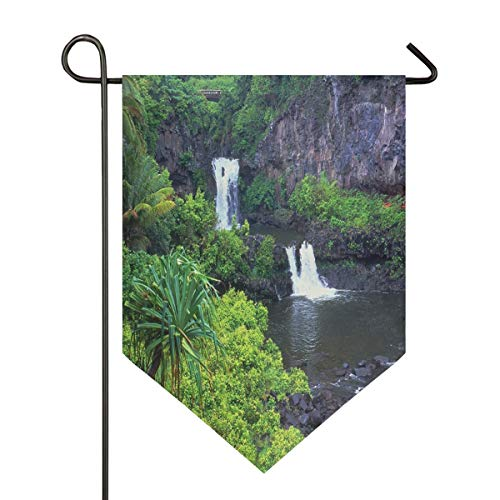 Hot Hawaii Garden Flag House Banner Long Polyester Decorative Flag for Wedding Party Yard Home Outdoor Decor Season Porch Lawn Double Sided 12 x 18.5 inches]()