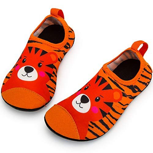 Crova Kids Water Shoes Quick Dry Aqua Socks Non-Slip Barefoot Sports Shoes for Boys Girls Toddler, Orange Tiger, 12-13 Little Kid
