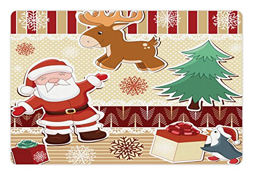 Lunarable Christmas Pet Mat for Food and Water, Cute Santa with Reindeer and Penguin Toys Snow Winter Celebration Kids Design, Rectangle Non-Slip Rubber Mat for Dogs and Cats, Multicolor by Lunarable (Image #2)