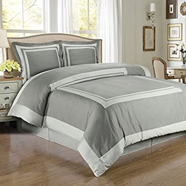Hotel Gray and Light Gray 3-Piece King / Cal-King Duvet-Cover-Set, 100-Percent Egyptian-Cotton, 300-Thread-Count