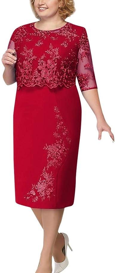 Amlaiworld Vestidos De Mujer Tallas Grandes Vestido De Fiesta De Verano De Encaje Elegante De La Madre De La Novia Hasta La Rodilla Vestido De Talla Grande Amazon Es Ropa Y Accesorios