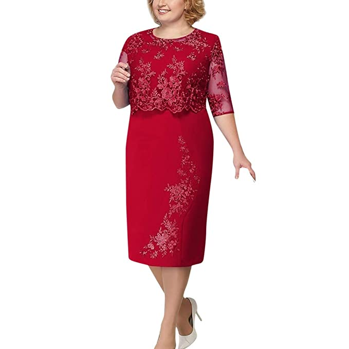 Women Casual Plus Size Lace Elegant Mother of Bride Dress ...