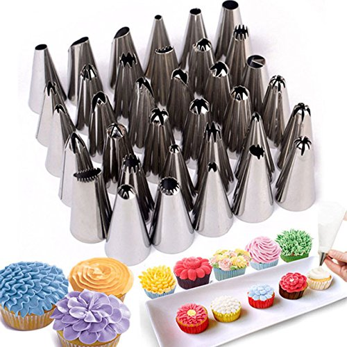 theworldmart-35-pcs-set-make-good-cakes-stainless-steel-cake-decorating-icing-pastry-piping-nozzles-