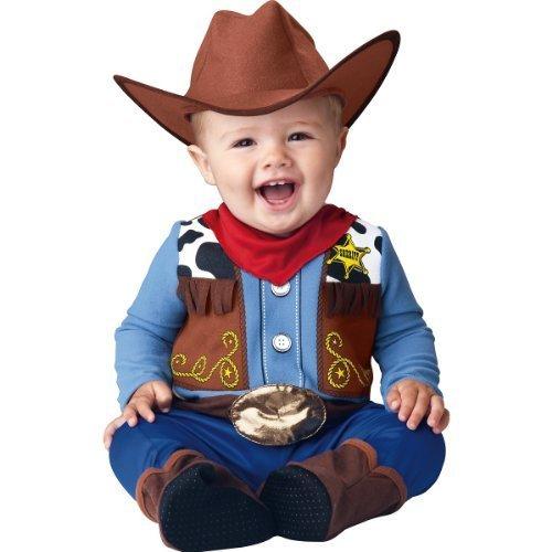 InCharacter Baby Boy's Wee Wrangler Cowboy Costume, Tan/Blue, Small